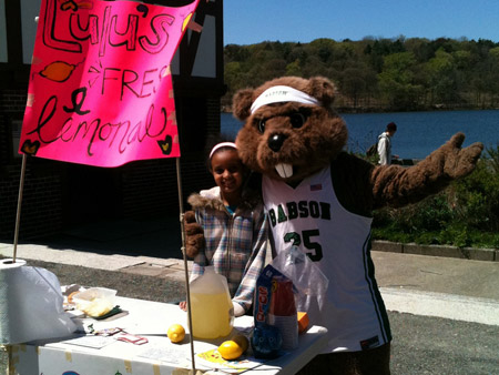 Little Sister Lulu with the Babson College mascot at her Jamaica Pond Lemonade Stand