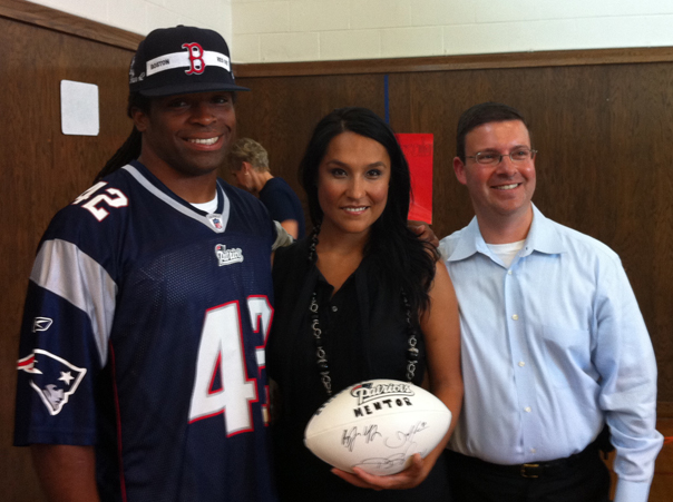 Patriots Running Back BenJarvus Green-Ellis, Big Sister Amanda Martinez, and Rich Greif of Mass Mentoring Partnership