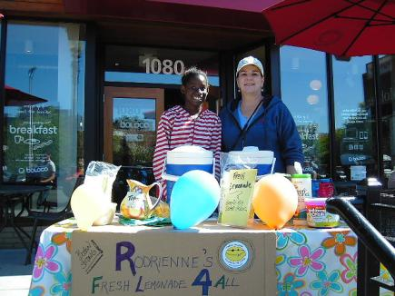 Little Sister Rodrienne and Big Sister Jeanne at their Lemonade Stand.