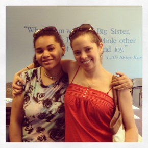 Little Sister Paola and Big Sister Angie in 2013 visiting the Big Sister office.